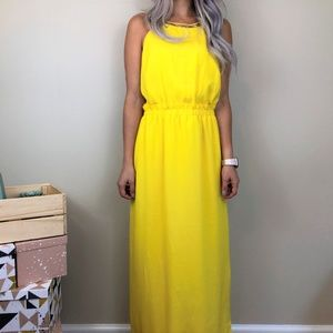 Gianni Bini Yellow Slit Maxi Dress Worn Once